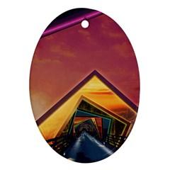 The Rainbow Bridge Of A Thousand Fractal Colors Ornament (oval) by jayaprime