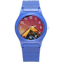 The Rainbow Bridge Of A Thousand Fractal Colors Round Plastic Sport Watch (s) by beautifulfractals