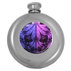 Beautiful Lilac Fractal Feathers Of The Starling Round Hip Flask (5 Oz) by jayaprime