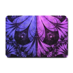 Beautiful Lilac Fractal Feathers Of The Starling Small Doormat  by beautifulfractals