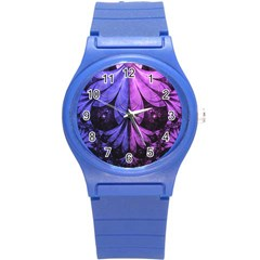 Beautiful Lilac Fractal Feathers Of The Starling Round Plastic Sport Watch (s) by jayaprime