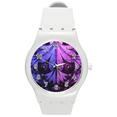Beautiful Lilac Fractal Feathers Of The Starling Round Plastic Sport Watch (m) by beautifulfractals