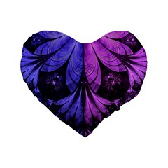 Beautiful Lilac Fractal Feathers Of The Starling Standard 16  Premium Flano Heart Shape Cushions by beautifulfractals