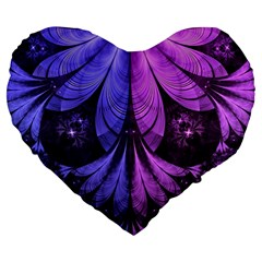 Beautiful Lilac Fractal Feathers Of The Starling Large 19  Premium Flano Heart Shape Cushions by jayaprime