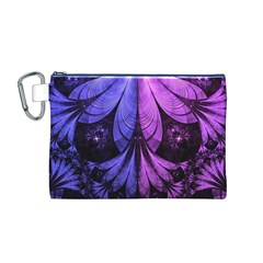 Beautiful Lilac Fractal Feathers Of The Starling Canvas Cosmetic Bag (m) by beautifulfractals