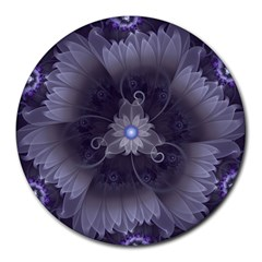 Amazing Fractal Triskelion Purple Passion Flower Round Mousepads by jayaprime
