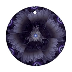 Amazing Fractal Triskelion Purple Passion Flower Ornament (round) by jayaprime