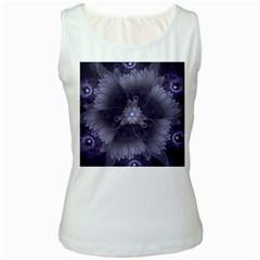 Amazing Fractal Triskelion Purple Passion Flower Women s White Tank Top by beautifulfractals