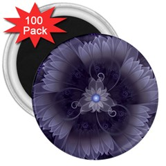 Amazing Fractal Triskelion Purple Passion Flower 3  Magnets (100 Pack) by jayaprime