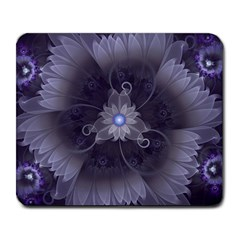 Amazing Fractal Triskelion Purple Passion Flower Large Mousepads by jayaprime