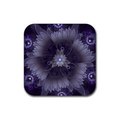 Amazing Fractal Triskelion Purple Passion Flower Rubber Coaster (square)  by jayaprime