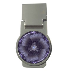 Amazing Fractal Triskelion Purple Passion Flower Money Clips (round)  by jayaprime