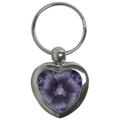 Amazing Fractal Triskelion Purple Passion Flower Key Chains (heart)  by jayaprime