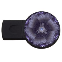 Amazing Fractal Triskelion Purple Passion Flower Usb Flash Drive Round (2 Gb) by jayaprime