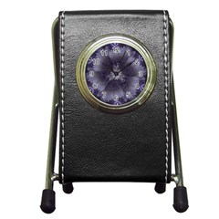 Amazing Fractal Triskelion Purple Passion Flower Pen Holder Desk Clocks by jayaprime