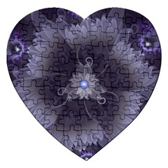 Amazing Fractal Triskelion Purple Passion Flower Jigsaw Puzzle (heart) by jayaprime