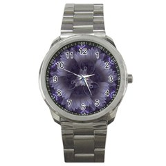 Amazing Fractal Triskelion Purple Passion Flower Sport Metal Watch by beautifulfractals