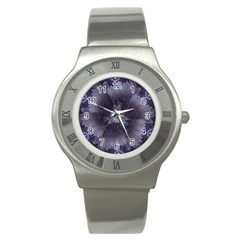 Amazing Fractal Triskelion Purple Passion Flower Stainless Steel Watch by jayaprime