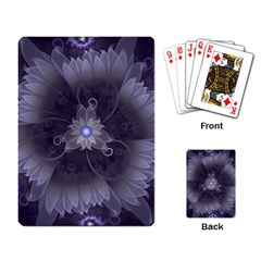 Amazing Fractal Triskelion Purple Passion Flower Playing Card by jayaprime