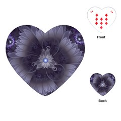 Amazing Fractal Triskelion Purple Passion Flower Playing Cards (heart)  by jayaprime