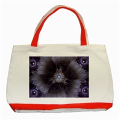 Amazing Fractal Triskelion Purple Passion Flower Classic Tote Bag (red) by jayaprime