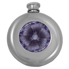 Amazing Fractal Triskelion Purple Passion Flower Round Hip Flask (5 Oz) by jayaprime