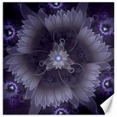 Amazing Fractal Triskelion Purple Passion Flower Canvas 20  X 20   by jayaprime