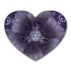 Amazing Fractal Triskelion Purple Passion Flower Heart Mousepads by jayaprime