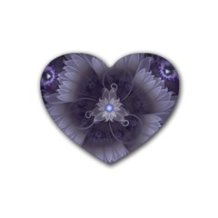 Amazing Fractal Triskelion Purple Passion Flower Rubber Coaster (heart)  by jayaprime