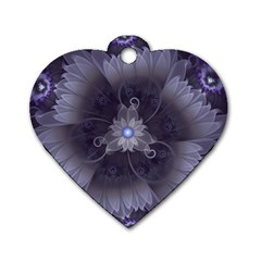 Amazing Fractal Triskelion Purple Passion Flower Dog Tag Heart (one Side) by jayaprime
