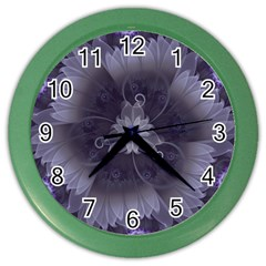 Amazing Fractal Triskelion Purple Passion Flower Color Wall Clocks by jayaprime