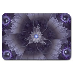 Amazing Fractal Triskelion Purple Passion Flower Large Doormat  by jayaprime