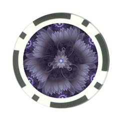 Amazing Fractal Triskelion Purple Passion Flower Poker Chip Card Guard by jayaprime