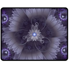 Amazing Fractal Triskelion Purple Passion Flower Fleece Blanket (medium)  by jayaprime