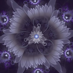 Amazing Fractal Triskelion Purple Passion Flower Magic Photo Cubes by jayaprime