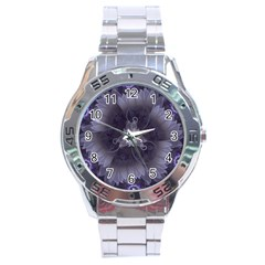 Amazing Fractal Triskelion Purple Passion Flower Stainless Steel Analogue Watch by jayaprime