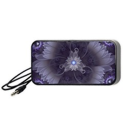 Amazing Fractal Triskelion Purple Passion Flower Portable Speaker (black) by beautifulfractals