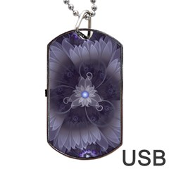 Amazing Fractal Triskelion Purple Passion Flower Dog Tag Usb Flash (one Side) by beautifulfractals