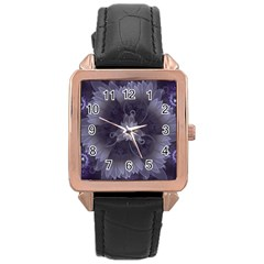 Amazing Fractal Triskelion Purple Passion Flower Rose Gold Leather Watch  by beautifulfractals