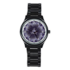 Amazing Fractal Triskelion Purple Passion Flower Stainless Steel Round Watch by jayaprime