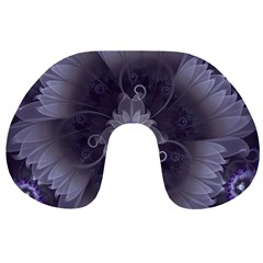 Amazing Fractal Triskelion Purple Passion Flower Travel Neck Pillows by beautifulfractals