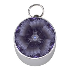 Amazing Fractal Triskelion Purple Passion Flower Mini Silver Compasses by jayaprime