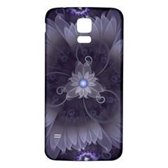 Amazing Fractal Triskelion Purple Passion Flower Samsung Galaxy S5 Back Case (white) by jayaprime