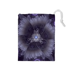 Amazing Fractal Triskelion Purple Passion Flower Drawstring Pouches (medium)  by jayaprime