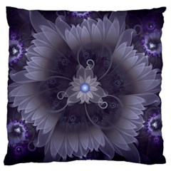 Amazing Fractal Triskelion Purple Passion Flower Large Flano Cushion Case (two Sides) by jayaprime