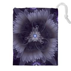 Amazing Fractal Triskelion Purple Passion Flower Drawstring Pouches (xxl) by jayaprime