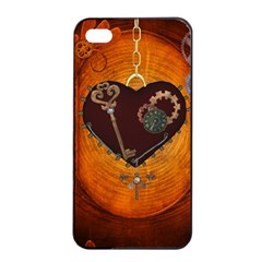 Steampunk, Heart With Gears, Dragonfly And Clocks Apple Iphone 4/4s Seamless Case (black) by FantasyWorld7