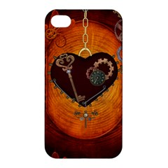 Steampunk, Heart With Gears, Dragonfly And Clocks Apple Iphone 4/4s Hardshell Case by FantasyWorld7
