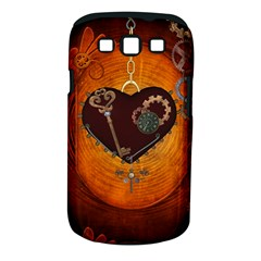 Steampunk, Heart With Gears, Dragonfly And Clocks Samsung Galaxy S Iii Classic Hardshell Case (pc+silicone) by FantasyWorld7