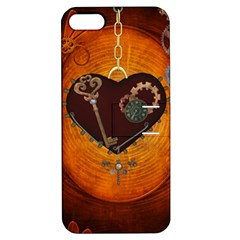 Steampunk, Heart With Gears, Dragonfly And Clocks Apple Iphone 5 Hardshell Case With Stand by FantasyWorld7